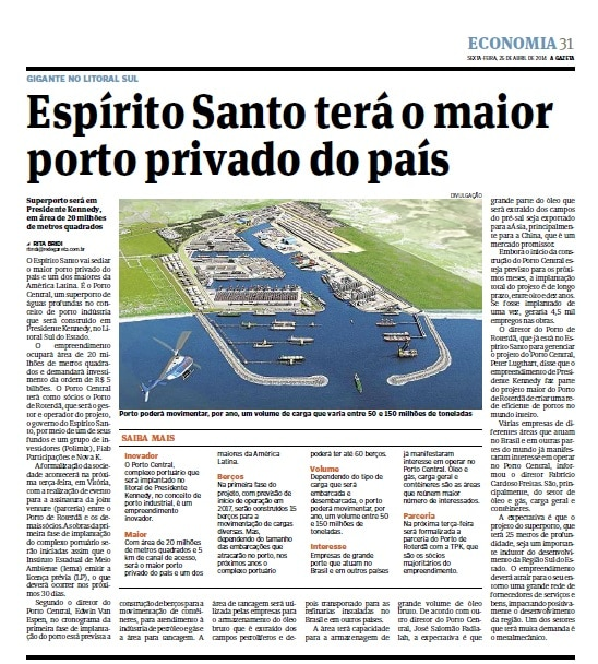 Noticia - Espírito Santo tera o maior porto privado do pais - A Gazeta